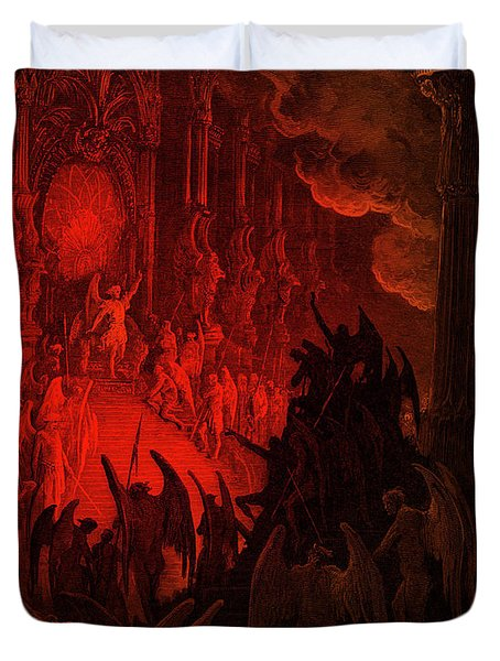 Paradise Lost  Satan In Council Duvet Cover
