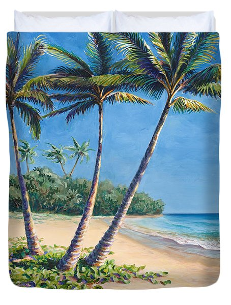 Tropical Paradise Landscape - Hawaii Beach And Palms Painting Duvet Cover