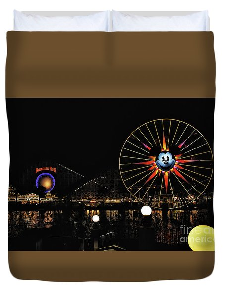 Paradise Pier And Mickey's Fun Wheel Duvet Cover