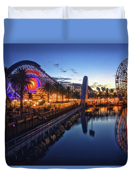 Paradise Pier Sunset Duvet Cover