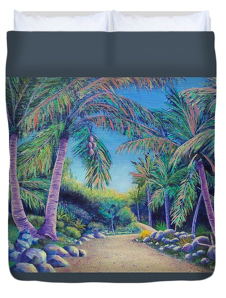Duvet Cover featuring the painting Paradise by Susan DeLain