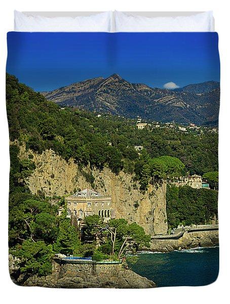 Paraggi Bay Castle And Liguria Mountains Portofino Park  Duvet Cover