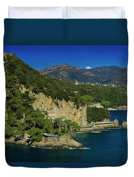 Paraggi Bay Castle And Liguria Mountains Portofino Park  Duvet Cover