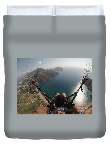 Paragliding Fly Above Laguna Seascape Duvet Cover