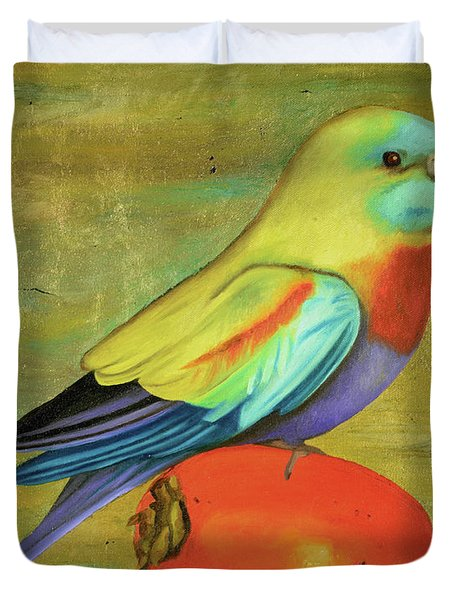 Parakeet On A Persimmon Duvet Cover by Leah Saulnier The Painting Maniac