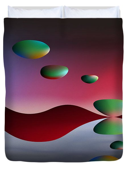 Duvet Cover featuring the digital art Parallel Lives by Leo Symon