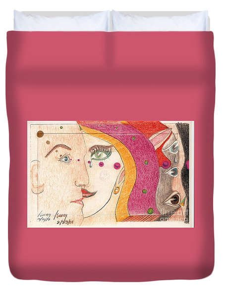 Duvet Cover featuring the drawing Paranoia by Rod Ismay