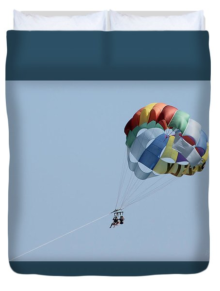 Duvet Cover featuring the photograph Parasailing Ocean City Maryland by Robert Banach
