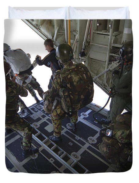 Paratroopers Jump From A C-130 Hercules Duvet Cover by Andrew Chittock