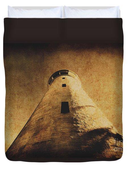 Parchment Paper Lighthouse Duvet Cover