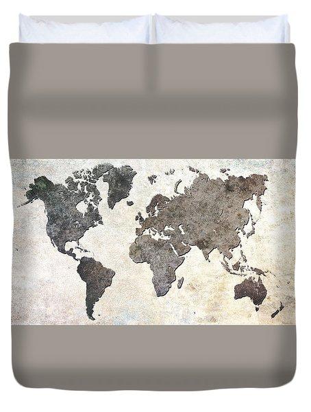 Duvet Cover featuring the digital art Parchment World Map by Douglas Pittman