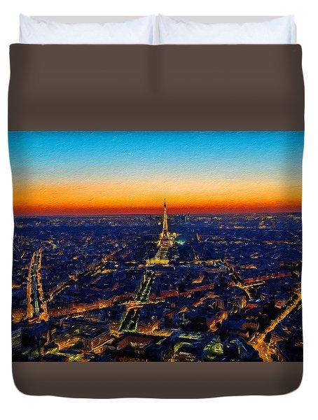 Paris After Sunset Duvet Cover