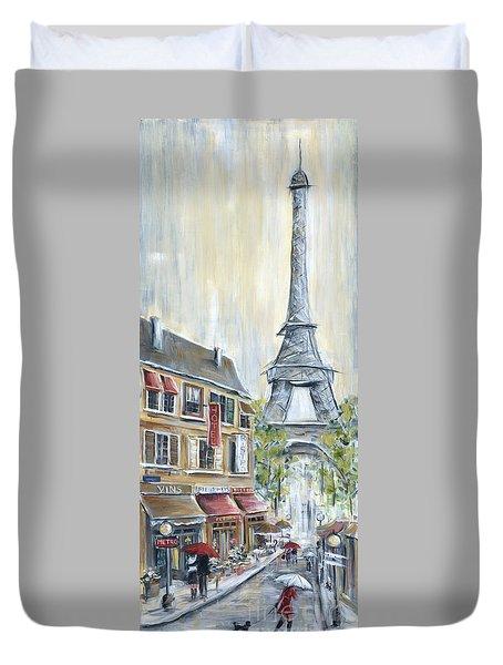 Poodle In Paris Duvet Cover