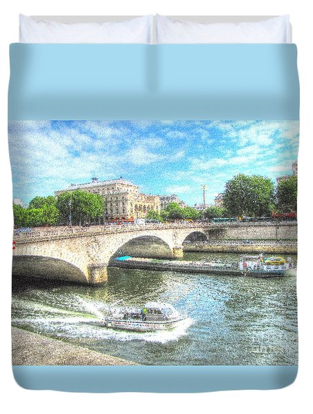 Duvet Cover featuring the pyrography Paris Bridge by Yury Bashkin