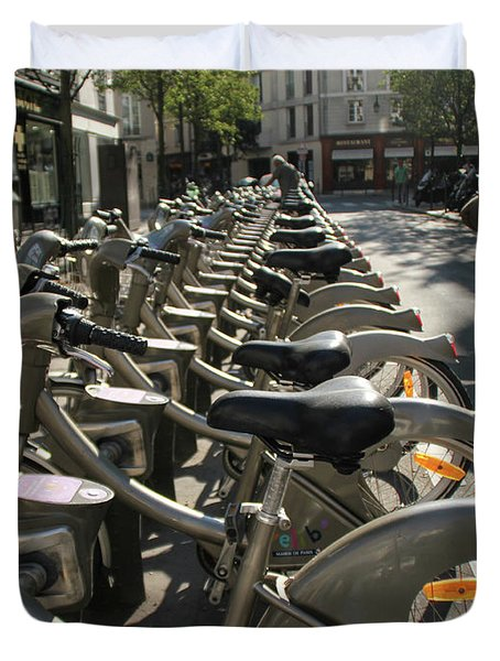 Duvet Cover featuring the photograph Paris By Bike by Yoel Koskas