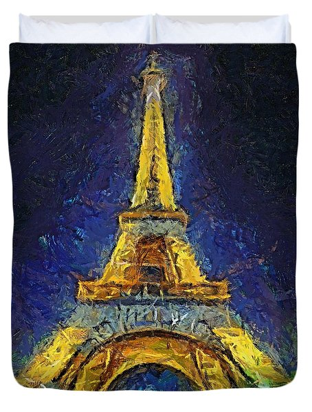 Duvet Cover featuring the painting Paris By Night by Dragica  Micki Fortuna