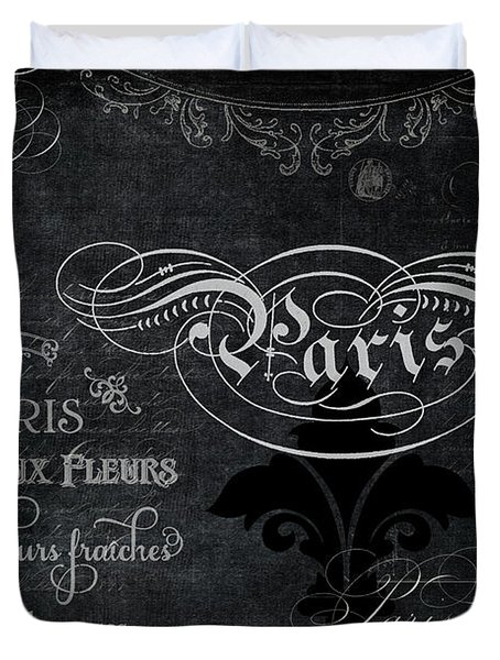 Duvet Cover featuring the painting Paris Chalkboard Typography 1 by Audrey Jeanne Roberts