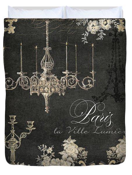 Paris - City Of Light Chandelier Candelabra Chalk Duvet Cover