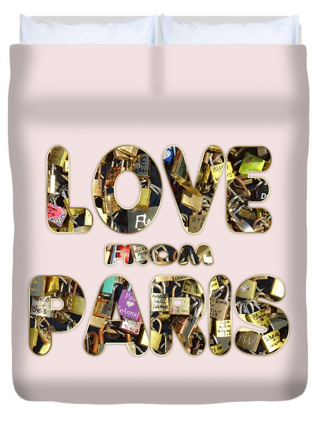 Duvet Cover featuring the painting Paris City Of Love And Lovelocks by Georgeta Blanaru