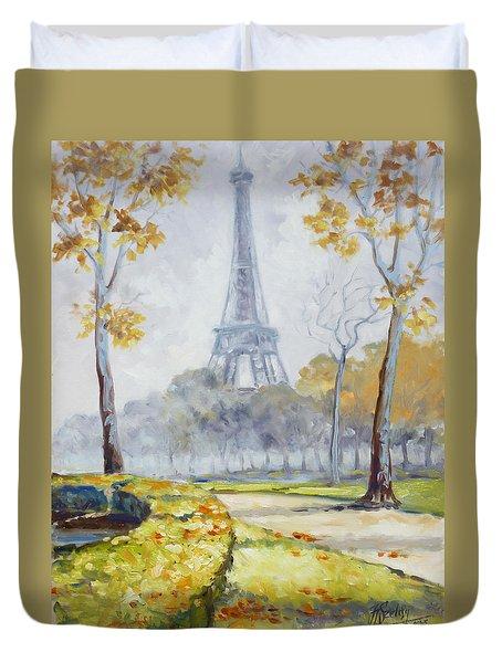 Paris Eiffel Tower From Trocadero Park Duvet Cover