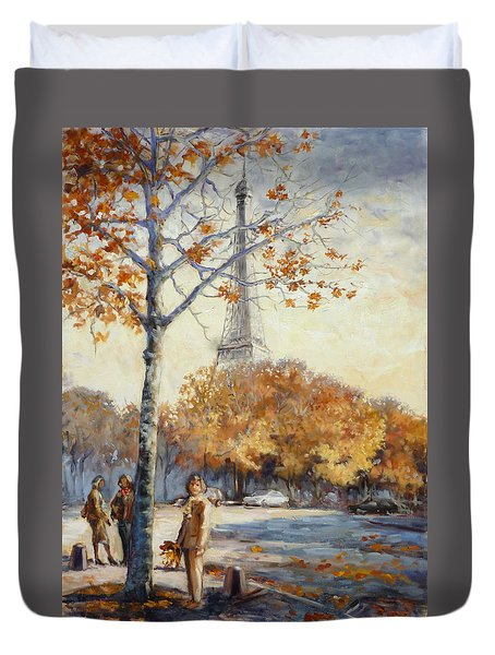 Paris Fall In Trocadero Park Duvet Cover