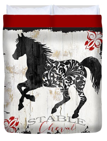 Paris Farm Sign Horse Duvet Cover