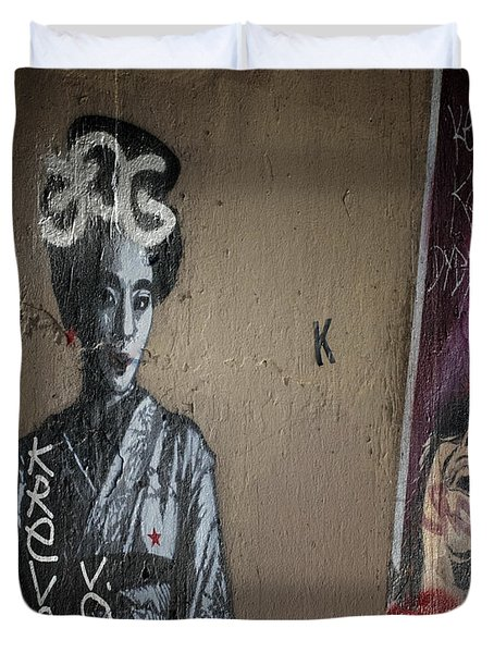 Paris Grafitti Geisha Duvet Cover