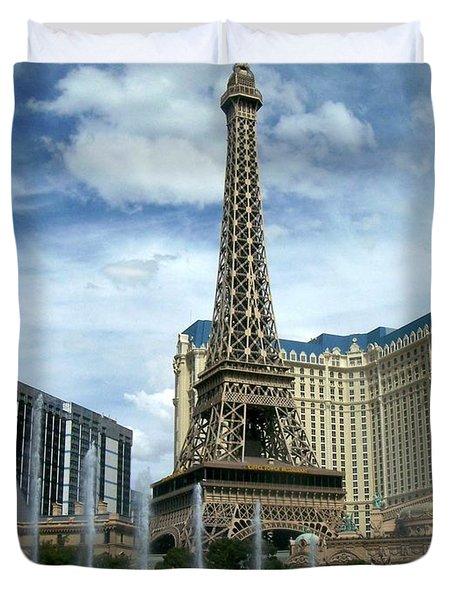 Paris Hotel And Bellagio Fountains Duvet Cover
