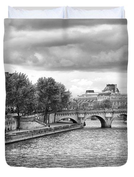 Paris In Black And White Duvet Cover