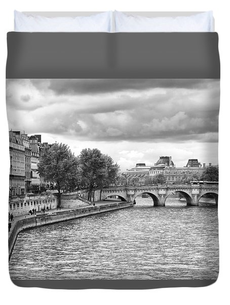 Paris In Black And White Duvet Cover
