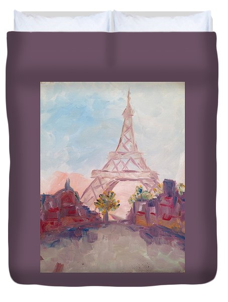 Paris In Pastel Duvet Cover by Roxy Rich