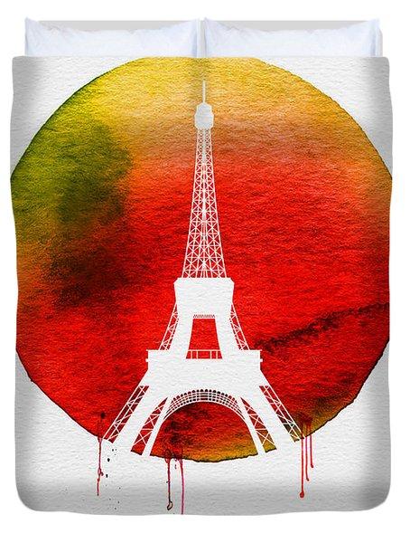 Paris Landmark Red Duvet Cover