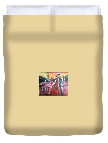Paris Lovers Duvet Cover by Roxy Rich