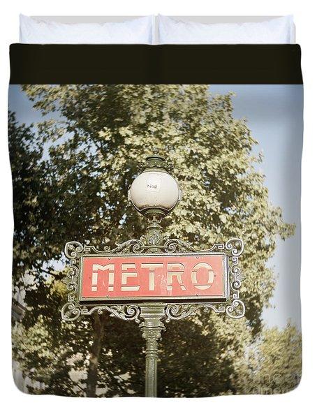 Paris Metro Sign 1 Duvet Cover