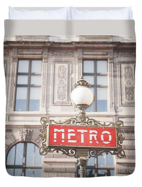 Paris Metro Sign Architecture Duvet Cover by Ivy Ho