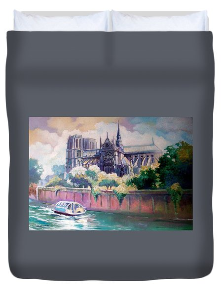Duvet Cover featuring the painting Paris Notre Dame by Paul Weerasekera