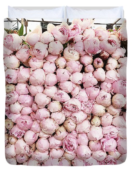 Paris Peonies - Pink Peony Flowers - Pink Paris Peonies - Peony Floral Prints Home Decor Duvet Cover
