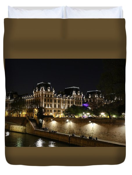 Duvet Cover featuring the photograph Paris Police Headquarters by Andrew Fare