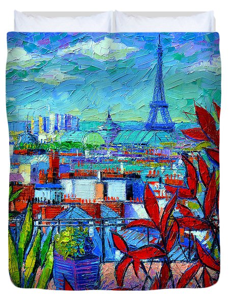 Paris Rooftops - View From Printemps Terrace   Duvet Cover by Mona Edulesco