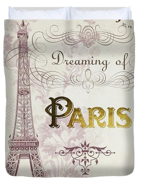 Paris Script Typography - Dreaming Of Paris French Typography Script Decor Duvet Cover