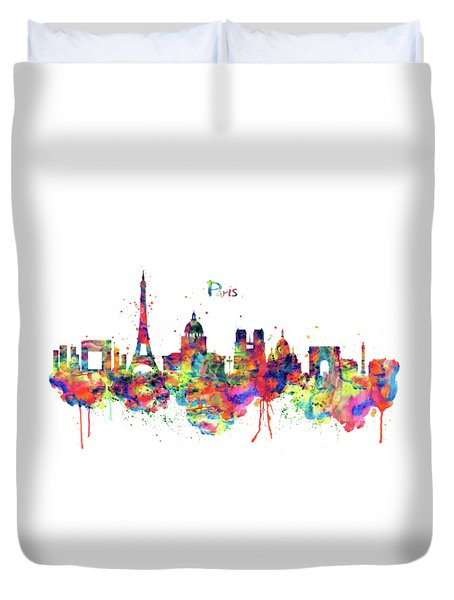 Duvet Cover featuring the mixed media Paris Skyline 2 by Marian Voicu