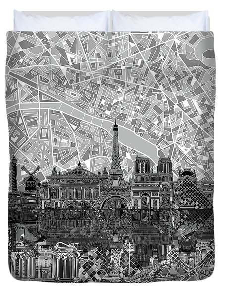 Duvet Cover featuring the painting Paris Skyline Black And White by Bekim Art