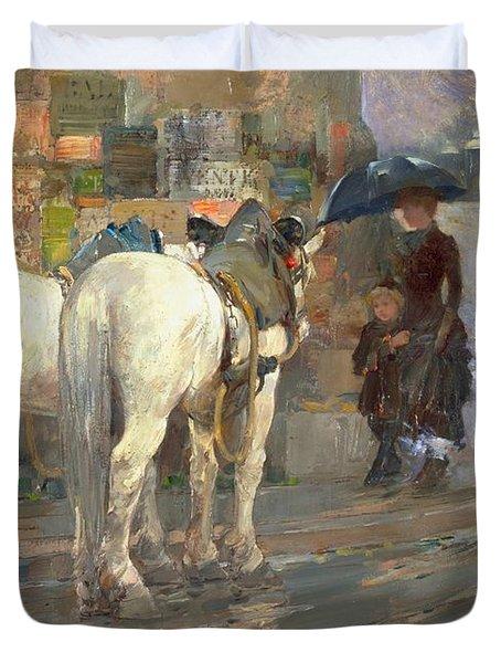 Paris Street Scene Duvet Cover by Childe Hassam