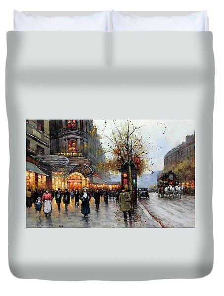 Paris Street Scene Duvet Cover