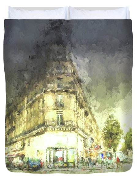 Duvet Cover featuring the mixed media Paris Streets by Jim  Hatch