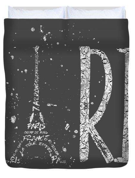 Paris Typography - Grey - Silver Splashes Duvet Cover