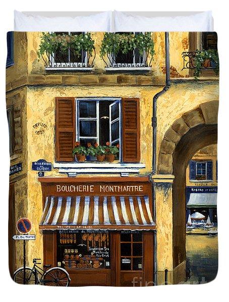 Parisian Bistro And Butcher Shop Duvet Cover by Marilyn Dunlap