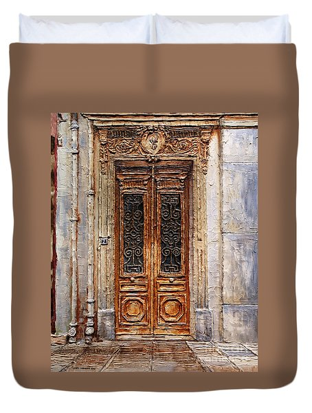 Duvet Cover featuring the painting Parisian Door No.7 by Joey Agbayani