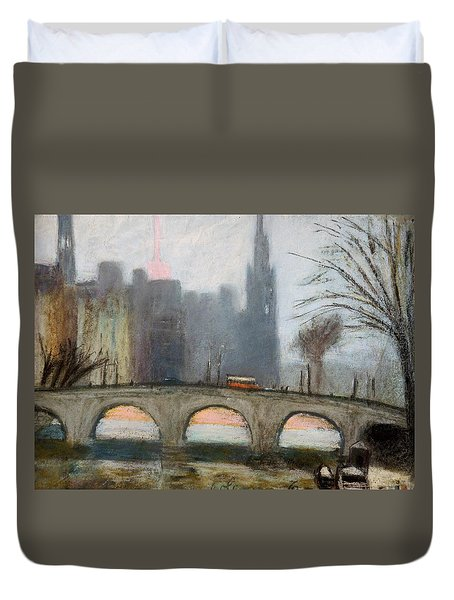 Duvet Cover featuring the painting Parisian Gray by Gary Coleman