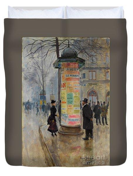 Parisian Street Scene Duvet Cover by John Stephens